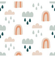 cute rainbows hand drawn doodles seamless pattern vector image vector image