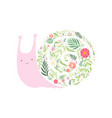 cute snail with shell made floral seamless vector image