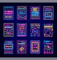 cyber monday mega sale super discounts neon set vector image