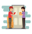 delivery worker with receiver vector image vector image