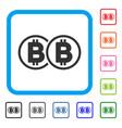 double bitcoin framed icon vector image vector image