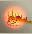 eid mubarak beautiful greeting design with mosque vector image vector image