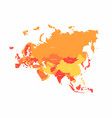 eurasia map with countries borders abstract red vector image vector image