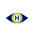 eye care solutions letter h vector image vector image
