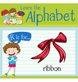 Flashcard letter R is for ribbon vector image vector image