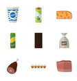 flat icon meal set of packet beverage eggshell vector image vector image