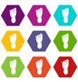 foot left leg icon set color hexahedron vector image vector image