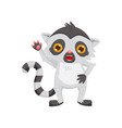 friendly lemur waving paw cute cartoon character vector image vector image