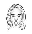 girl blows bubble gum sketch vector image vector image