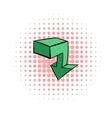 Green arrow icon comics style vector image vector image