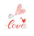 greeting card with lovers with birds vector image vector image