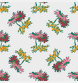 hand drawn flowers daisy leaves seamless pattern vector image vector image