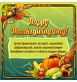 Happy thanksgiving day card on a green background vector image