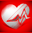 heart with ecg line for cardio heart health themes vector image