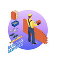home repair isometric template builder with tools vector image vector image