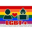 Human and robot relationships LGBT text and flag vector image vector image