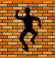 human silhouette hole in brick wall pop art vector image vector image