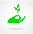 icon a hand holding a young plant vector image vector image