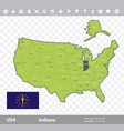 indiana flag and map vector image vector image