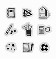 inky black hand drawn school supplies stickers vector image vector image