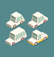 isometric car set isolated on color background vector image vector image