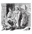 jesus heals a blind beggar named bartimaeus at vector image vector image
