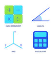 mathematics science icons set in flat style vector image