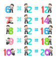 number multiplication from 12 until 20 vector image vector image