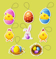 pack cartoon icon stickers for easter vector image vector image