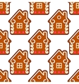 Seamless gingerbread pattern with people houses vector image