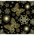 Seamless pattern with gold snowflakes vector image vector image