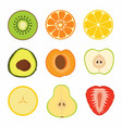 set fruit sliced vector image
