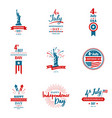 set of greeting for united states independence vector image vector image