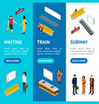 subway station banner vecrtical set isometric view vector image vector image