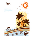 summer frame with palm tree dolphin crab starfish vector image vector image