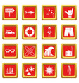 surfing icons set red vector image vector image