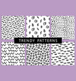 trendy hand drawn minimal seamless patterns set vector image