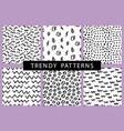 trendy hand drawn minimal seamless patterns set vector image vector image