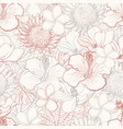 tropical flowers seamless pattern with white hand vector image vector image