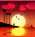 tropical sunset with palm trees and birds vector image vector image