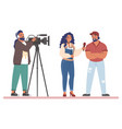 tv journalist or news reporter street interview vector image