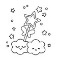 wand with clouds black and white vector image