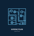 wiring plan flat line icon sign of vector image
