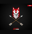 wolf with arrows logo vector image vector image