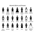women skirts and dresses stick figures depict a vector image vector image