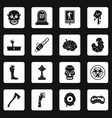 zombie icons set squares vector image vector image