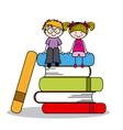 kids sitting on books vector image