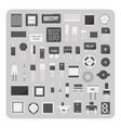 flat icons electronic circuit board set vector image