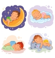 Set babies sleep vector image