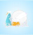 clean dish with washing sponge and foam bubles vector image